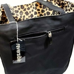 Stylish Reversible Bag Black/Leopard Print NWT